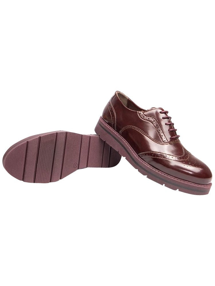 Wills vegan shoes flatform Brogues wine