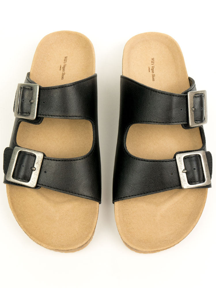 Will's Vegan Shoes Two Strap Footbed Sandals Black