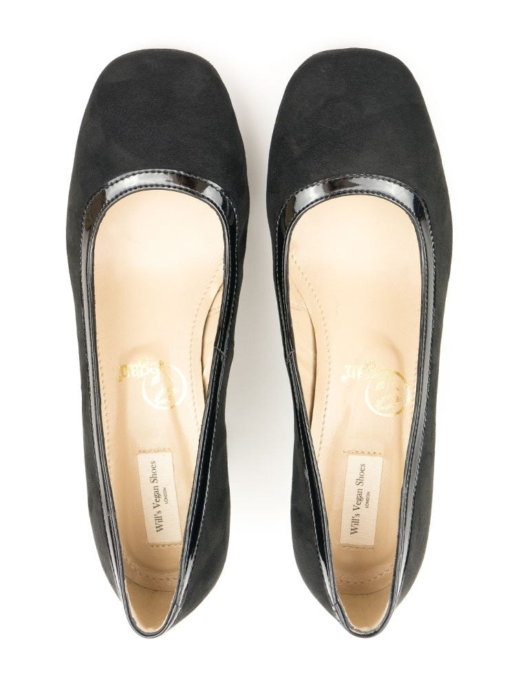 Will's Vegan Faux Suede Block Heels Black