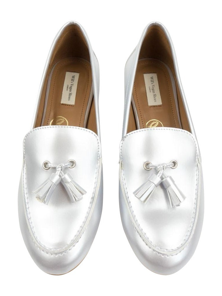 Will's vegan shoes tassle loafers silver