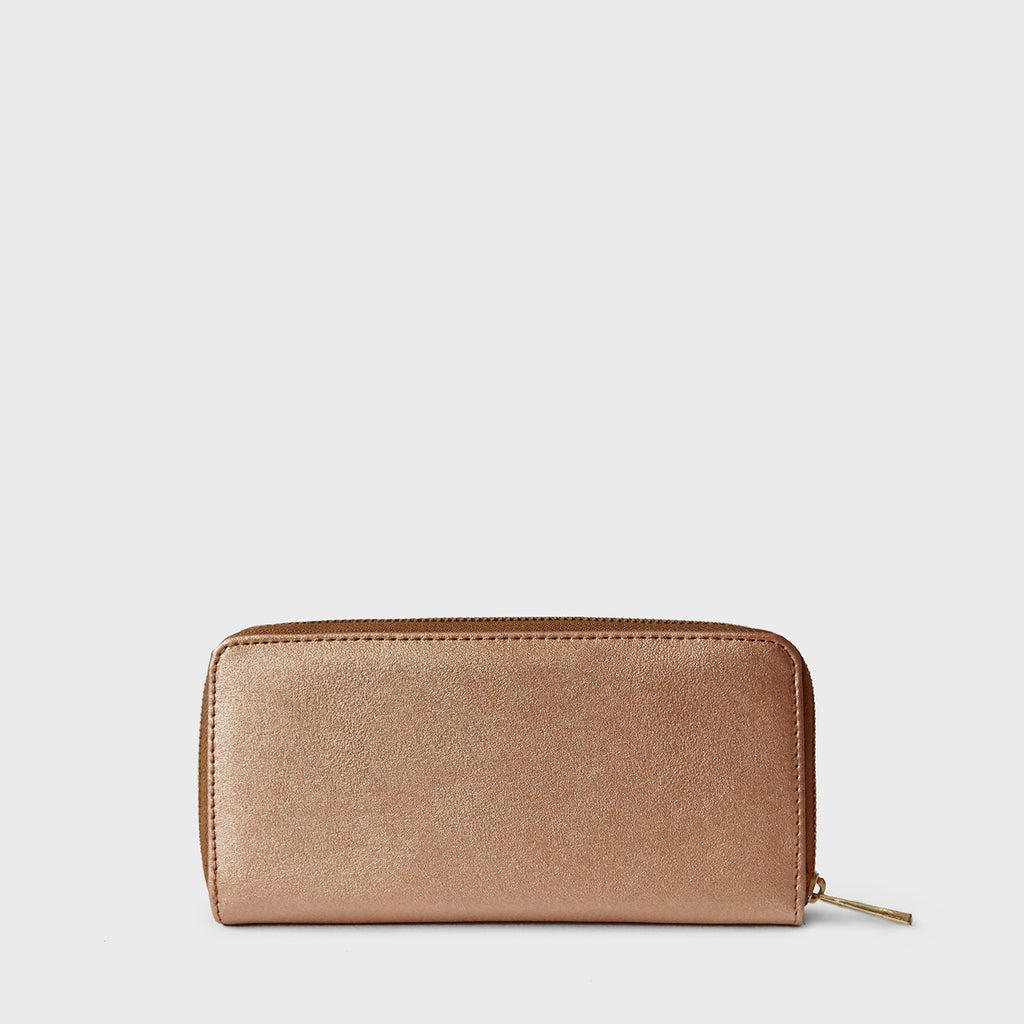 The Lovely Things Metallic Contrast Wallet Brown