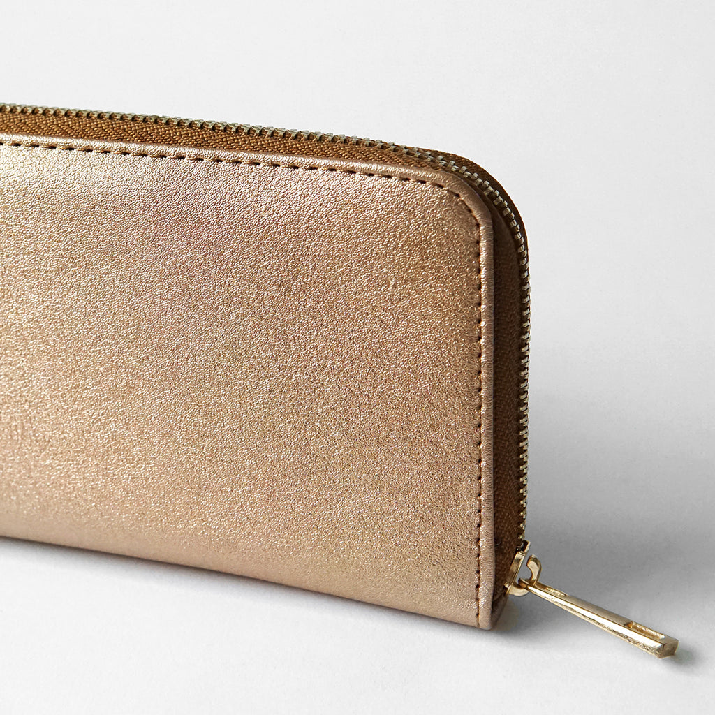 The Lovely Things Metallic Contrast Vegan Wallet Brown