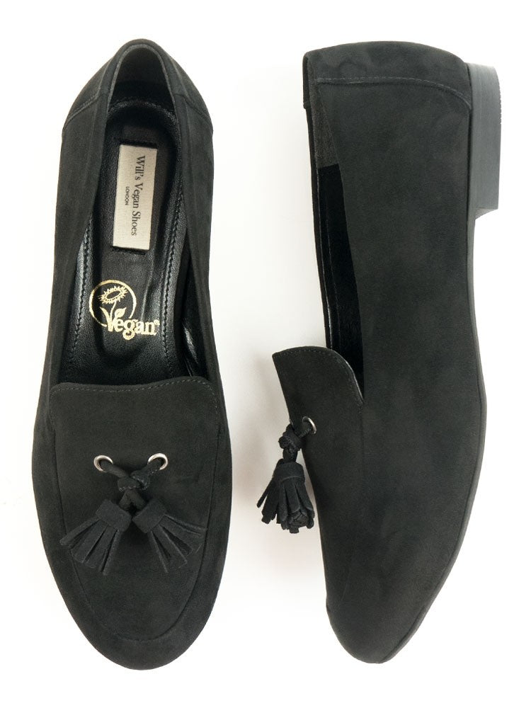 Will's vegan shoes tassle loafer black