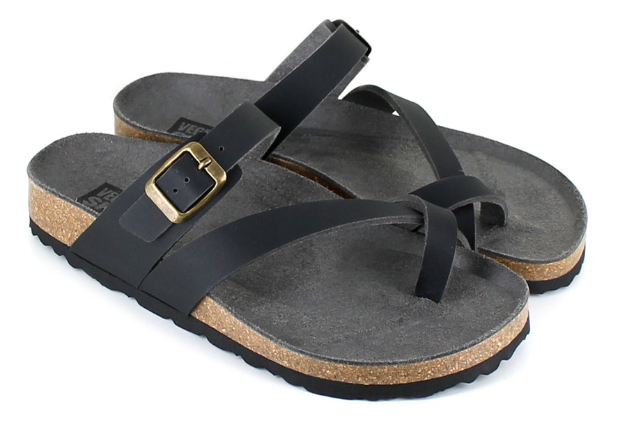 Vegetarian Shoes Toe Strap Sandals Black