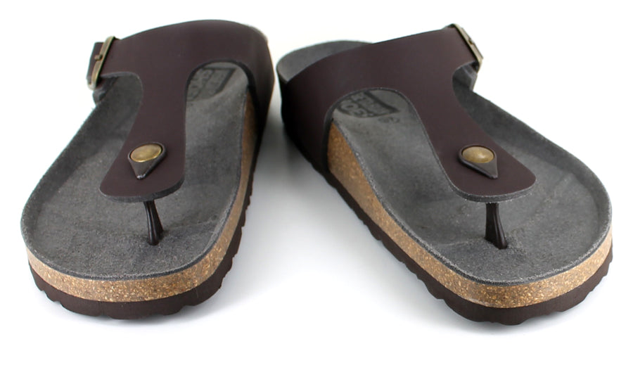 Vegetarian Shoes Toe Post Sandals Brown