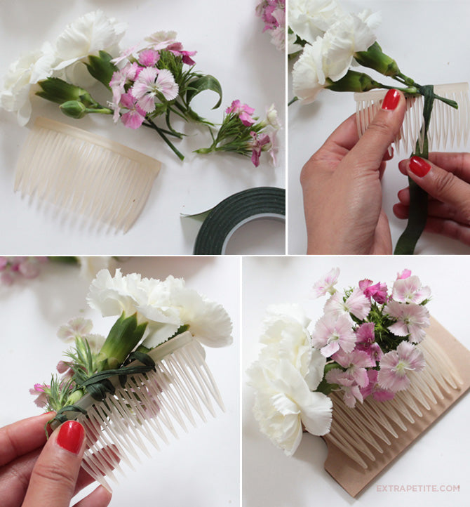 diy bridal flower comb