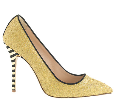 Gold Glitter Heels from JCrew