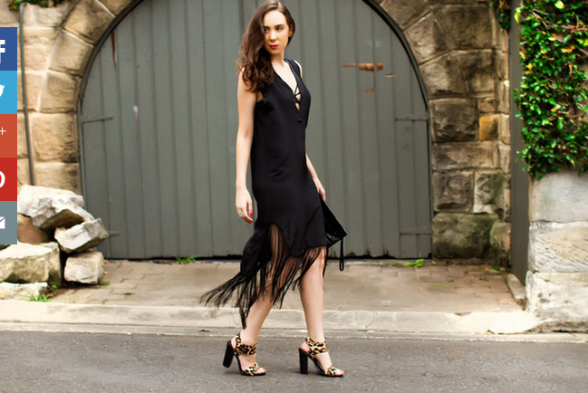 Girl with Black Fringe Dress