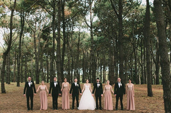 Bridesmaids and Groomsmen Outdoors