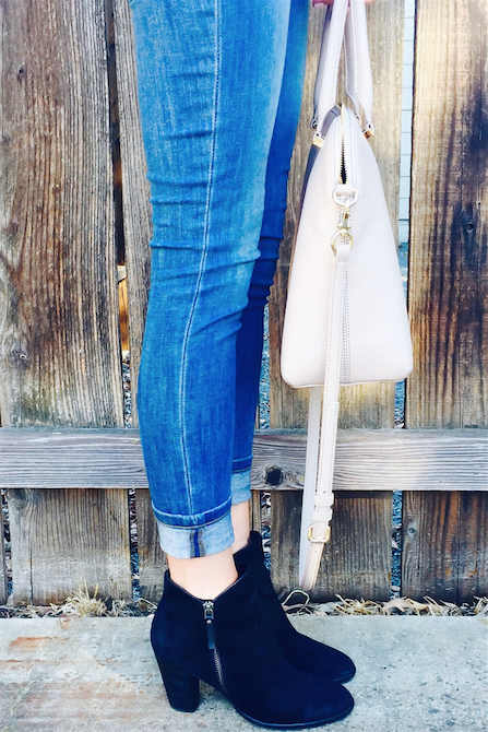 styling suede handbag and booties