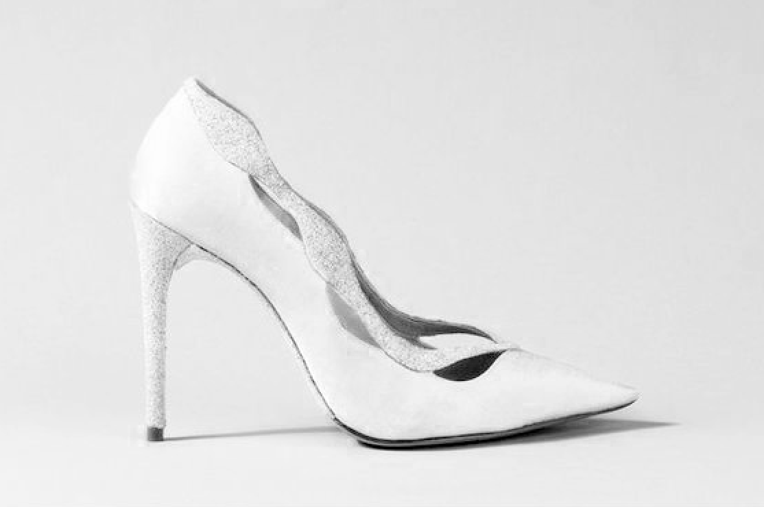 white and silver high heel