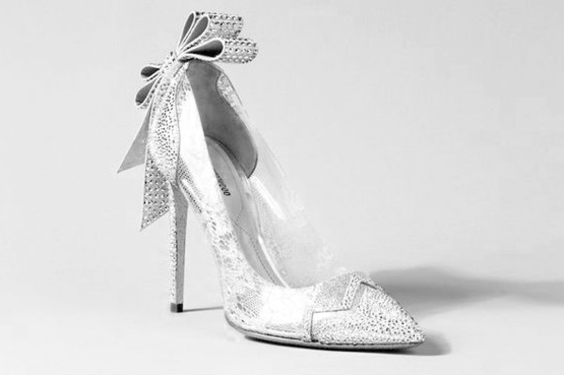 Silver Sparkle Bow High Heel New Years
