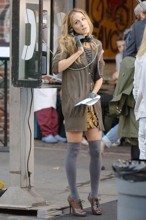 Carrie Bradshaw's grey thigh highs