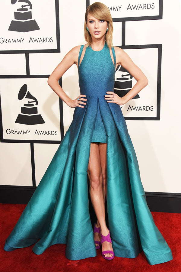 Taylor Swift wearing Elie Saab with Fuschia Shoes
