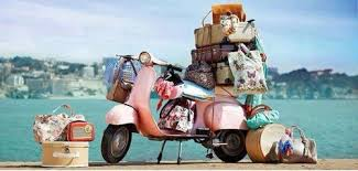 scooter with luggage