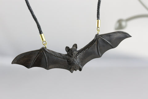 Flying Bat Necklace - Carved Wood Necklace - U060