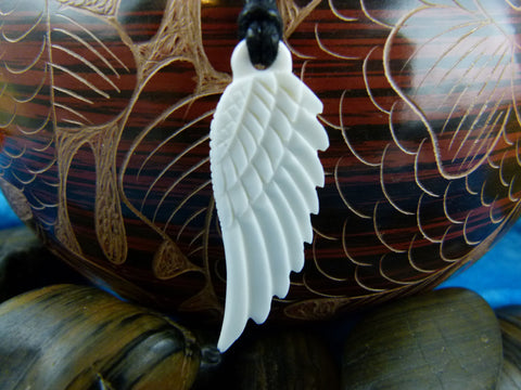Angel Wing Necklace - Carved Bone Necklace - X012