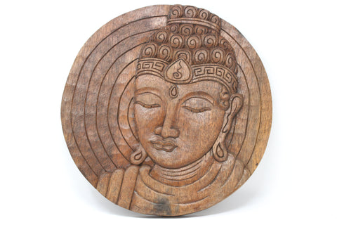 Wood Buddha Disk - Hand Carved