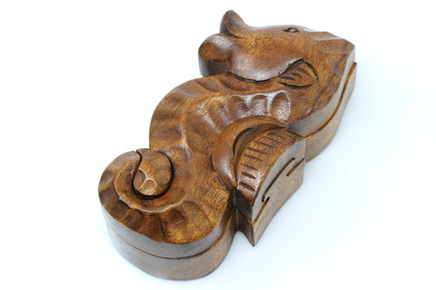 SeaHorse secret hidden box - hand carved wood puzzle box - sea horse puzzle box