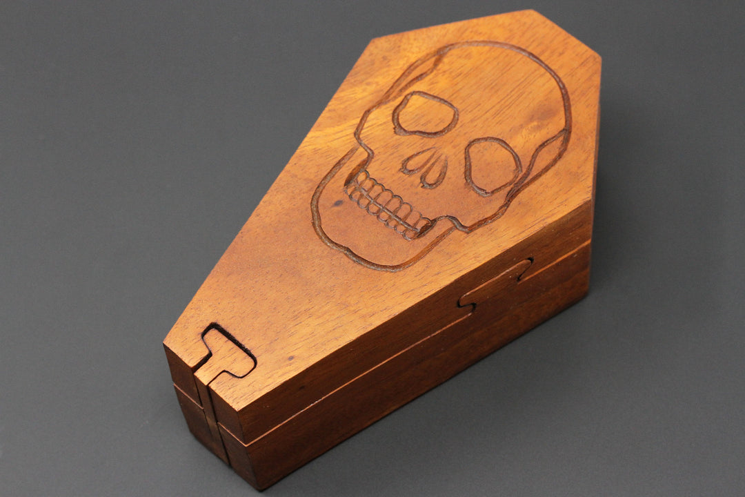 Coffin secret puzzle box - Hand Carved Wood Box