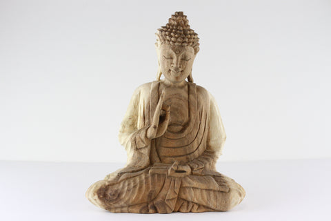 Hand Carved Wooden Buddha - Gayan Mudra
