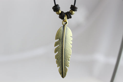 Brass Feather Necklace - JMN007