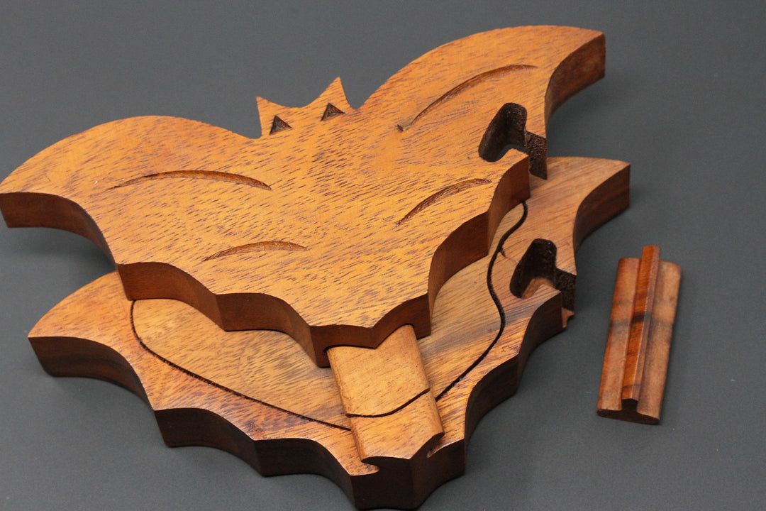 Bat Puzzle Box - Hand Carved Wooden Box
