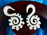 White Stretching Plug Earrings (Pair) - C001