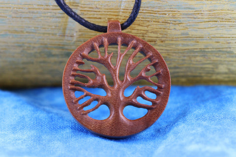 Hand Carved Yoga Tree Of Life Necklace - Z019