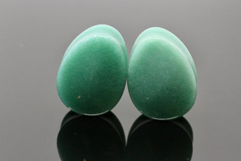 Aventurine Teardrop plugs (Pair) - PH91