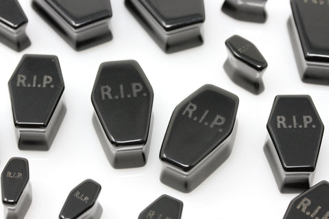 Black RIP Obsidian Coffin Plugs - PH96