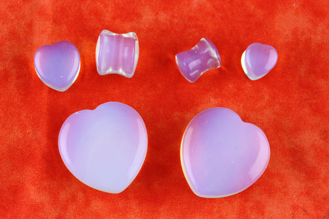 Opalite Chunky Heart Plugs - Stone Chunky Heart Plugs (Pair) - PB41
