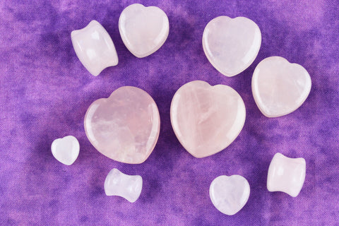 Rose Quartz heart plugs