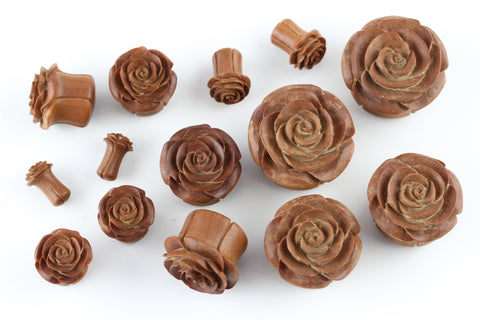 Carved Wood Rose Plugs (Pair) - PA61