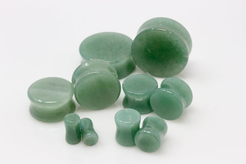 Aventurine Plugs for stretching ears - Double Flair Green Plugs (Pair) - PH06