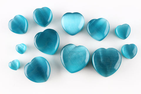 Aqua Cat's Eye Glass Heart Plugs - Stone Chunky Heart Plugs (Pair) - PB46
