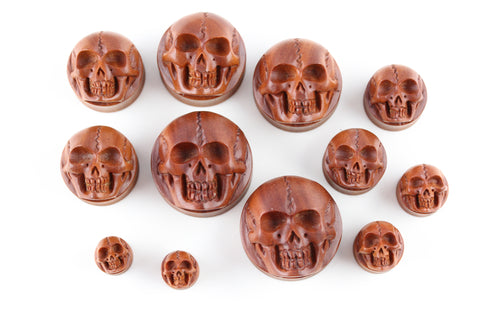 Carved Wooden Skull Plugs - Carved Sawo Wood Plugs (Pair) - PA63