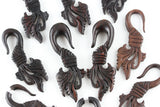 Carved Wood Hanging Stretch Plugs (Pair) - D007