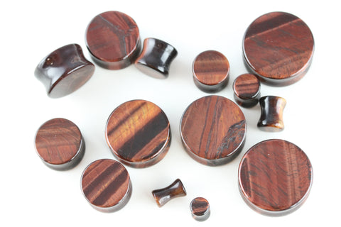 red tiger eye plugs