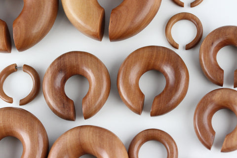 Wood Ear Hoop Plugs (Pair) - A070