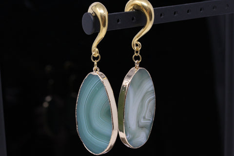 Green Agate Hook Ear Weights (Pair) - PSS43