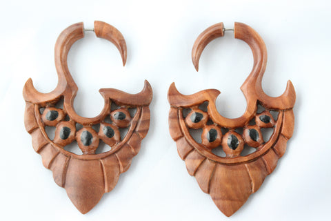 Hand Carved Wood Hanging Plugs (Pair) - A056