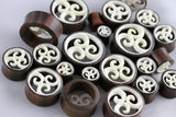 Hand Carved Bone and Wood Tunnels (Pair) - PA21