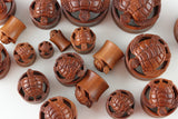 Wood Sea Turtle Plugs - Hand Carved - (Pair) - PA76
