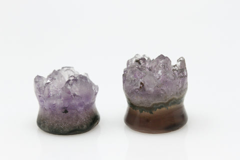Raw Amethyst Plugs (Pair) - 16mm as pictured - XA084-16