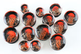 Red JellyFish Glass Plugs (8mm - 16mm) (Pair) - G014