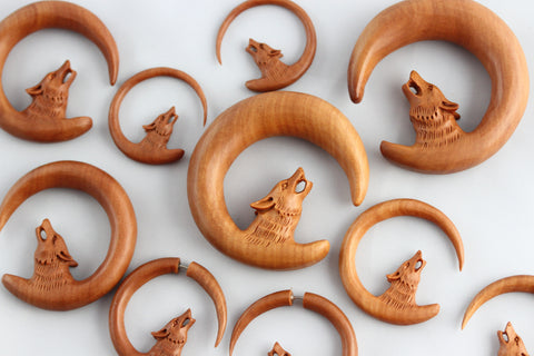 Wolf Hanger Hand Carved Wood (Pair) - A057