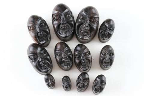OZ Face Plugs - Hand Carved OZ Oval Plugs (Pair) - PA77