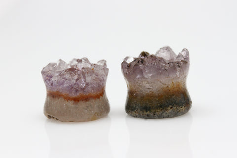 Raw Amethyst Plugs (Pair) - 14mm as pictured - XA058-14