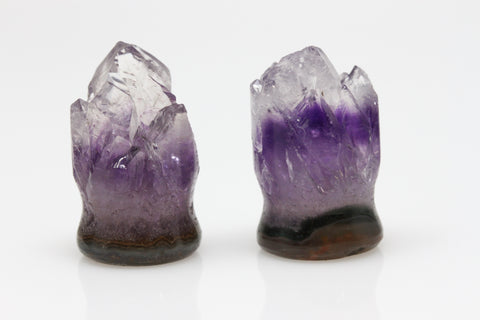 Raw Amethyst Plugs (Pair) - 14mm as pictured - XA062-14